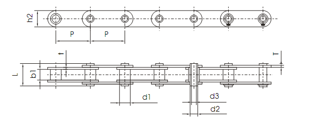 C2060 hollow pin roller chain diagram