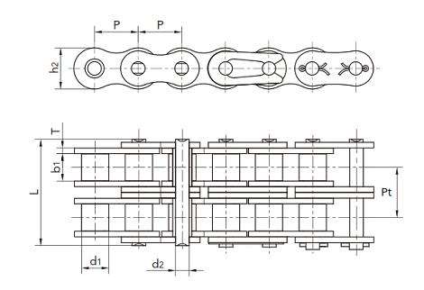double strand roller chain diagram