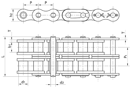 16b double metric roller chain diagram