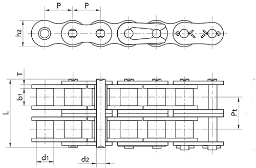 160 double roller chain diagram