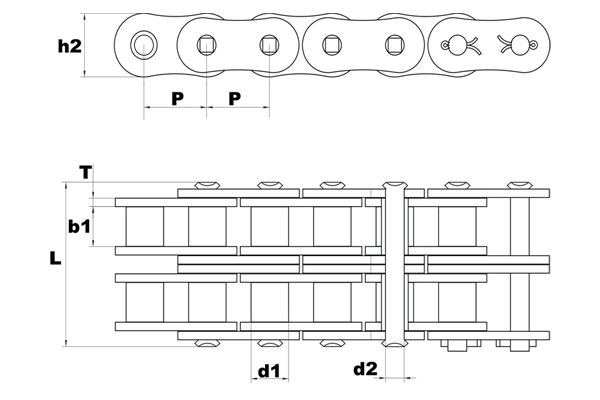 120SP-2 super premium roller chain diagram