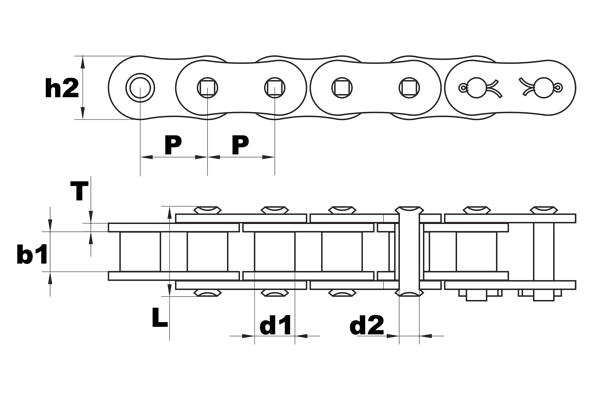 40SP super premium roller chain diagram