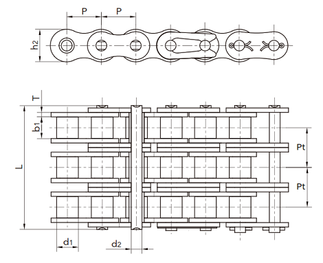 60-3 triple roller chain diagram